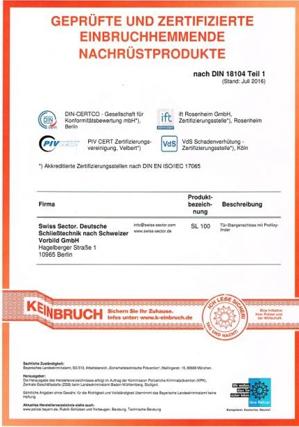 Zertifikat Einbruchschutz Keinbruch Swiss Sector Schlüsseldienst Berlin Kreuzberg Schöneberg Friedrichshain