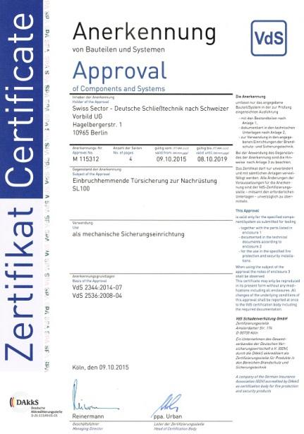 Swiss Sector Schließtechnik Zertifikat Samuel Schlüsseldienst Berlin Friedrichshain Kreuzberg Schöneberg