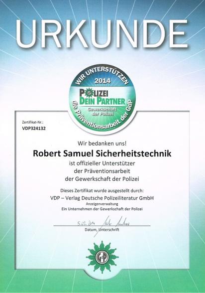 Einbruchschutz Prävention Urkunde Schlüsseldienst Berlin Friedrichshain Kreuzberg Schöneberg
